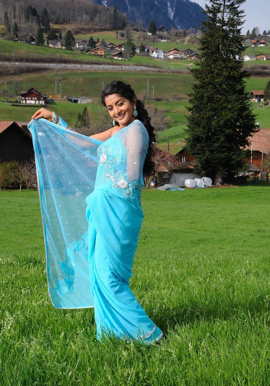 Meera jasmine blue saree photos