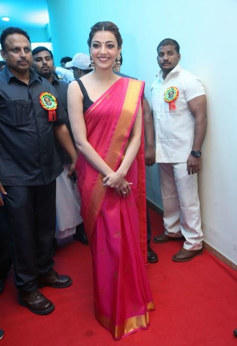 Actress kajal agarwal red saree photoshoot hd wallpaper