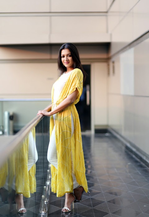 Catherine tresa yellow dress movie promotion gallery