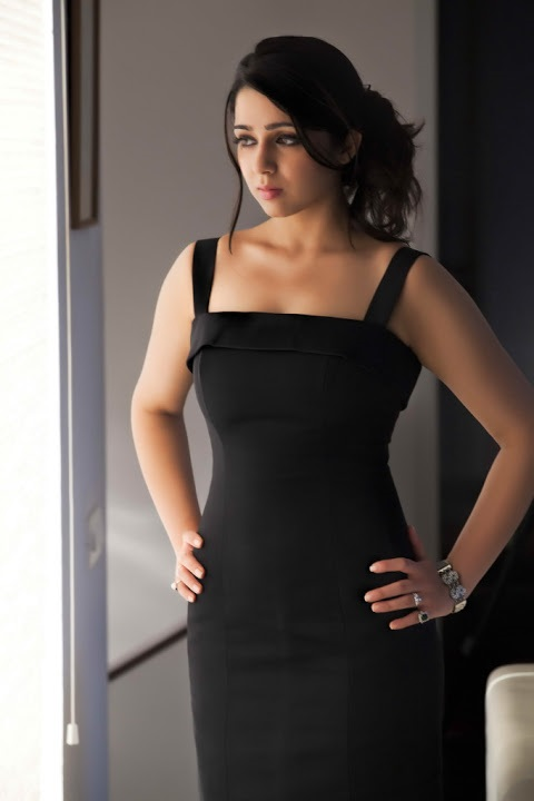 Charmi kaur black dress exclusive photos