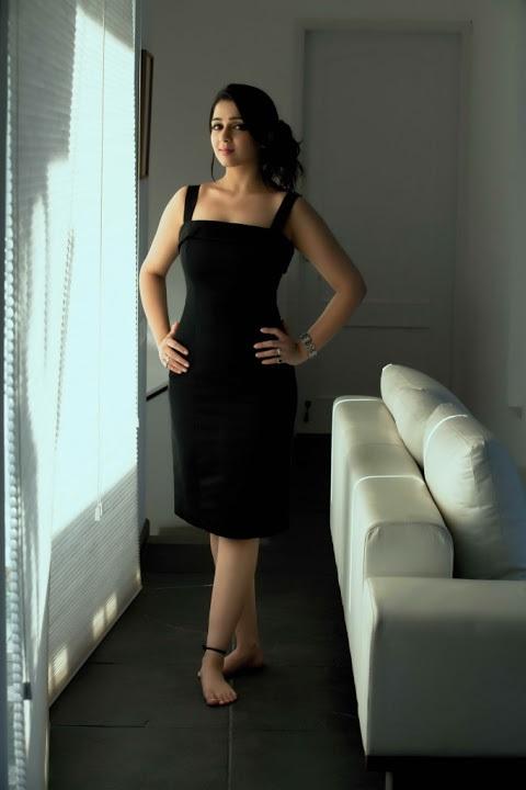 Charmi kaur black dress modeling image