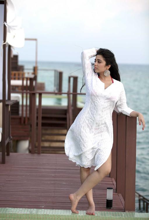 Charmi kaur white dress cute pictures