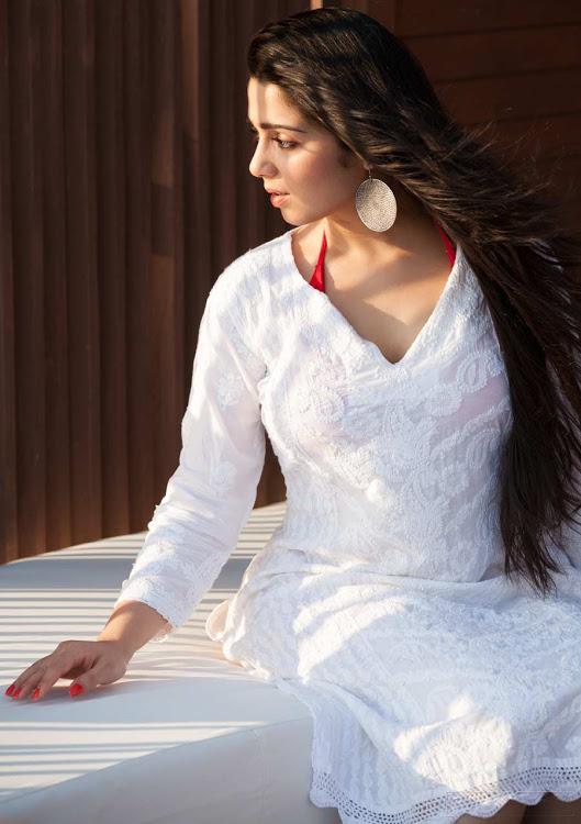 Charmi kaur white dress exclusive wallpaper