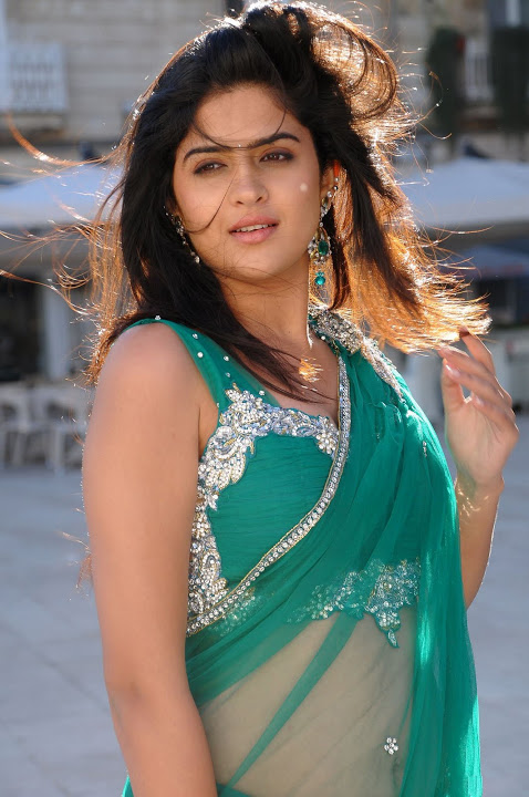 Deeksha seth green half saree smile pose slide show