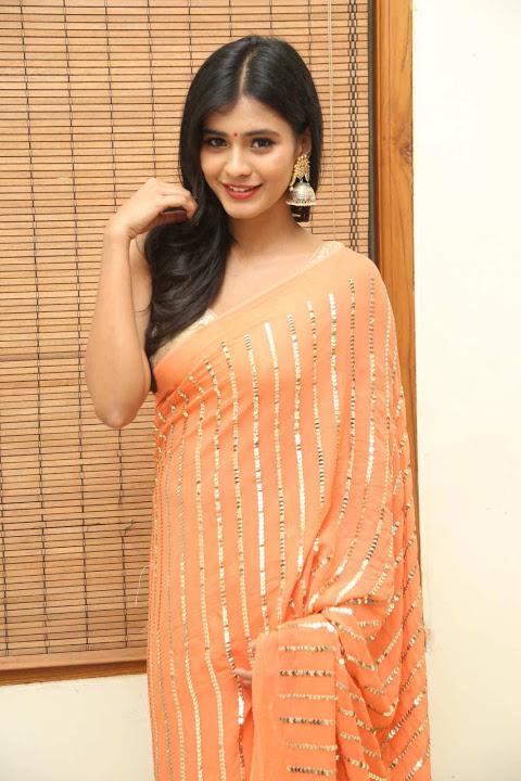 Hebah patel orange color dress cute pictures