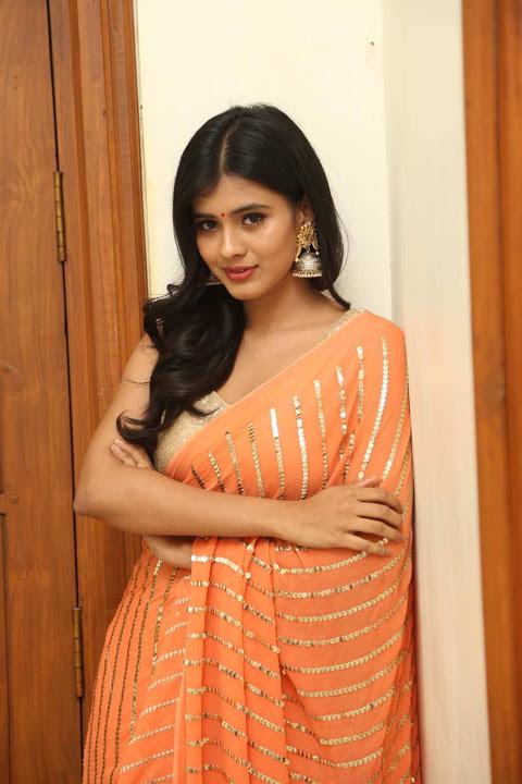 Hebah patel orange dress modeling fotos