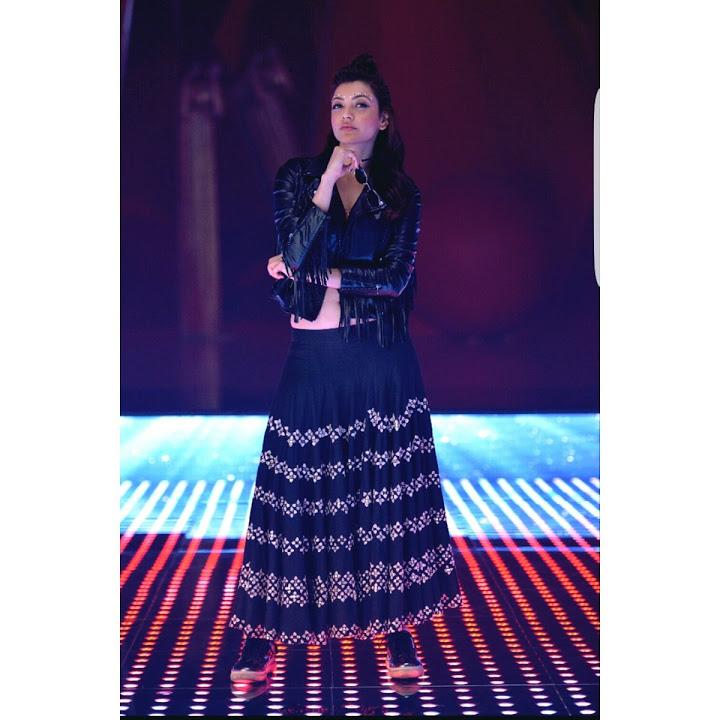 Kajal agarwal black dress hot cute stills