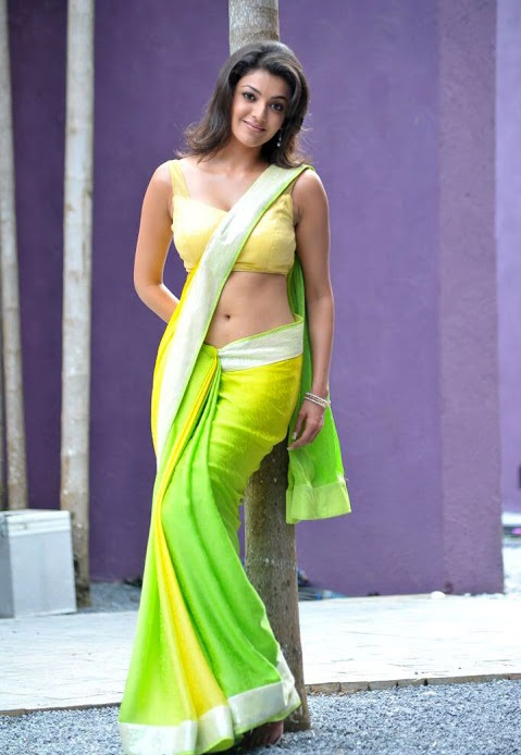 Kajal agarwal green saree exclusive image