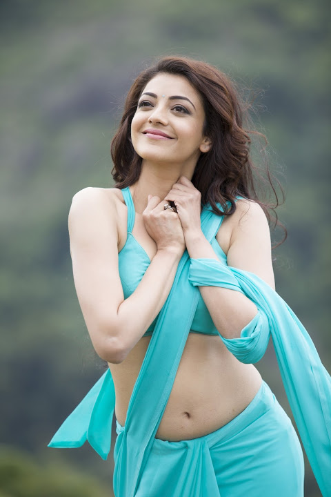 Kajal agarwal light blue half saree hd photos