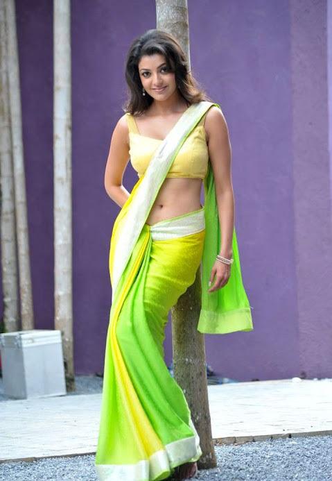 Kajal agarwal light green saree pictures