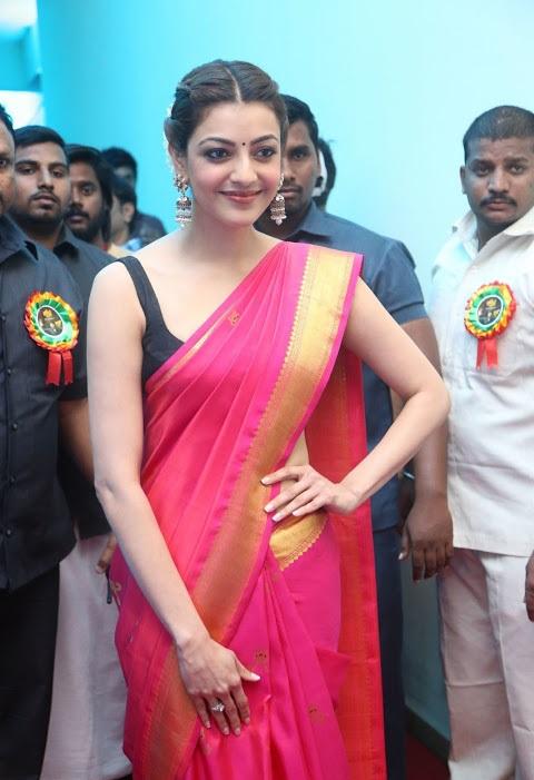 Kajal agarwal red saree cute photoshoot wallpaper