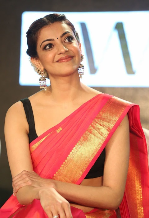 Kajal agarwal red saree desktop image