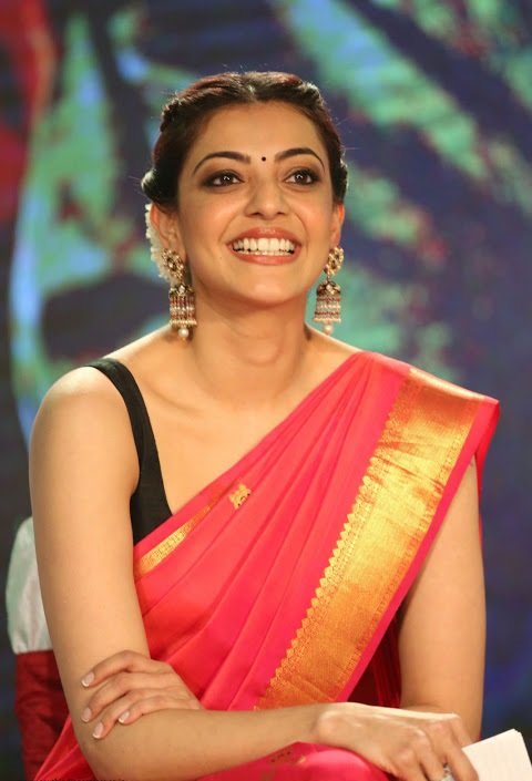Kajal agarwal red saree exclusive stills
