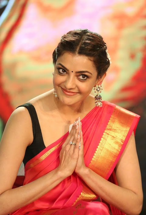 Kajal agarwal red saree fashion pics