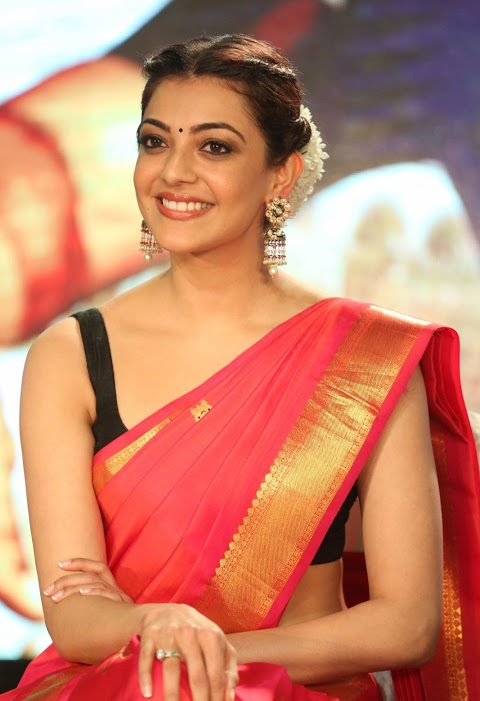Kajal agarwal red saree figure fotos