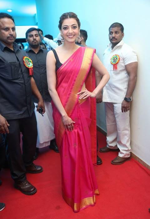 Kajal agarwal red saree glamour hd image