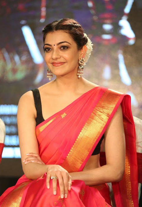 Kajal agarwal red saree hot gallery