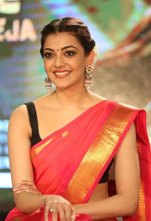Kajal agarwal red saree wide photos