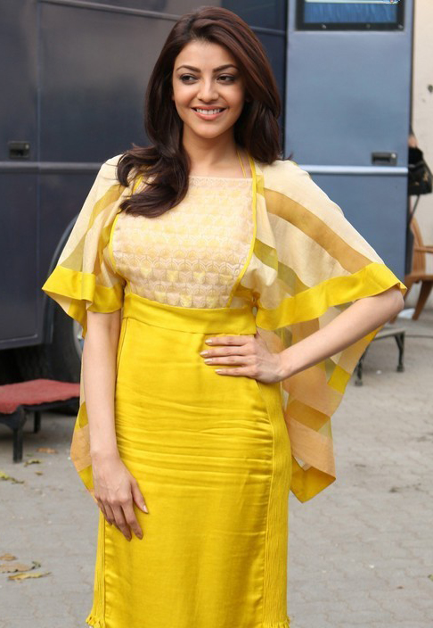 Kajal agarwal yellow dress beautiful modeling stills