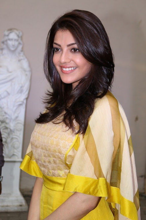 Kajal agarwal yellow dress glamour fashion stills