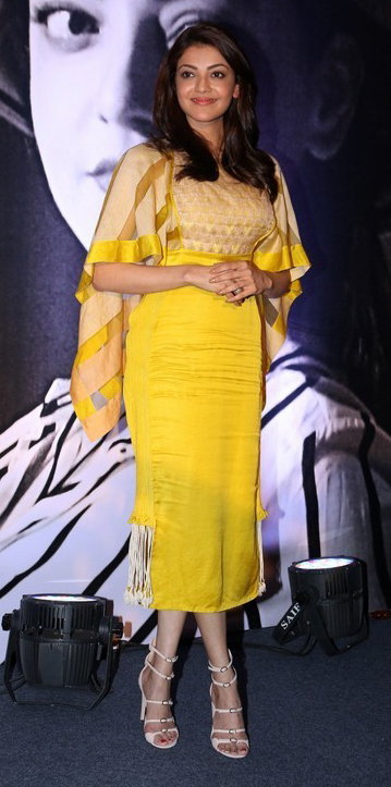 Kajal agarwal yellow dress interview stills