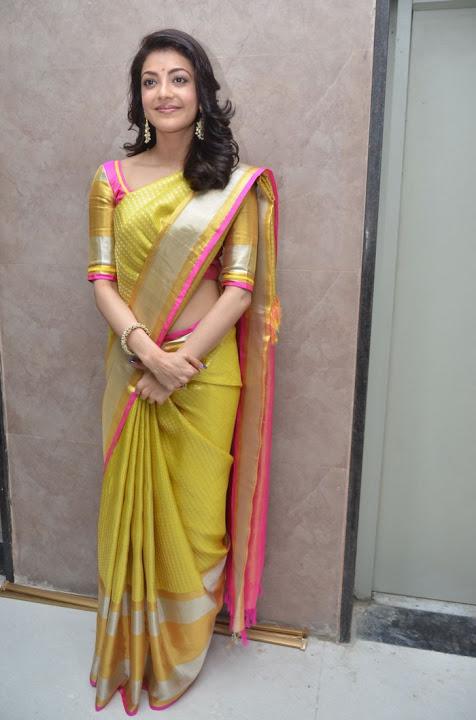 Kajal agarwal yellow saree cool