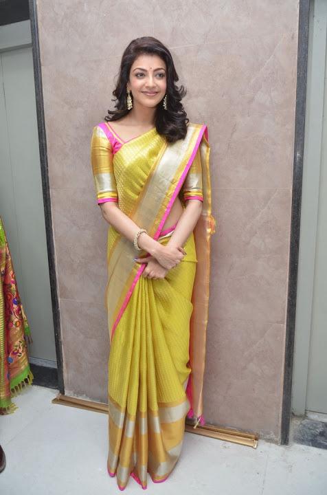 Kajal agarwal yellow saree desktop photos