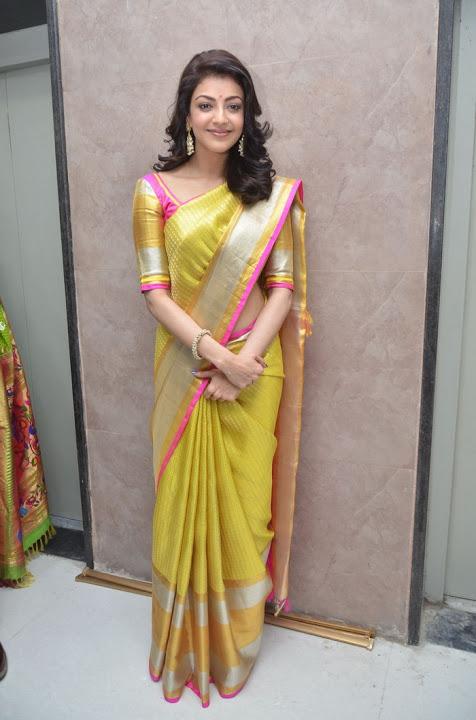 Kajal agarwal yellow saree exclusive wallpaper