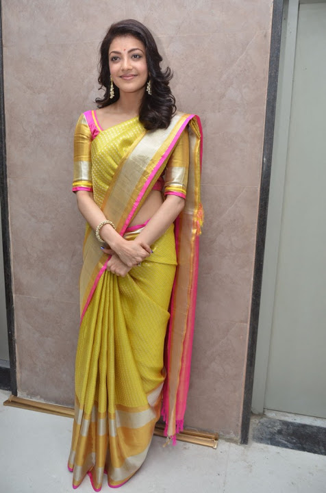 Kajal agarwal yellow saree fashion image