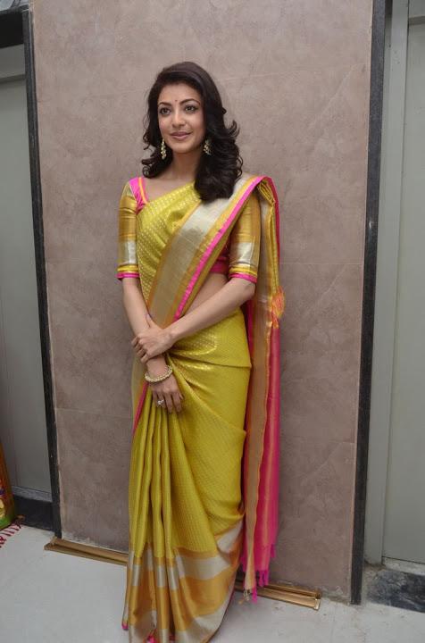 Kajal agarwal yellow saree interview stills