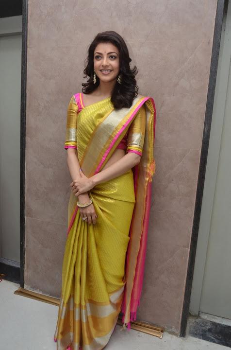 Kajal agarwal yellow saree movie promotion fotos