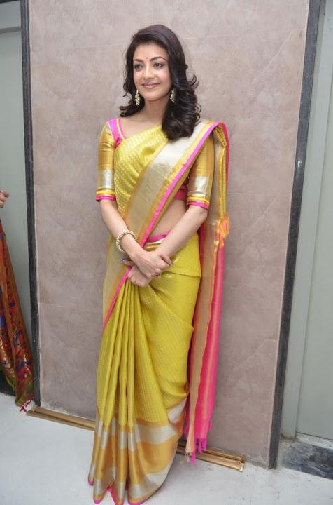 Kajal agarwal yellow saree smile pose gallery