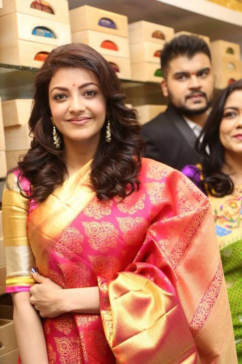 Kajal aggarwal red saree hot still cute photos