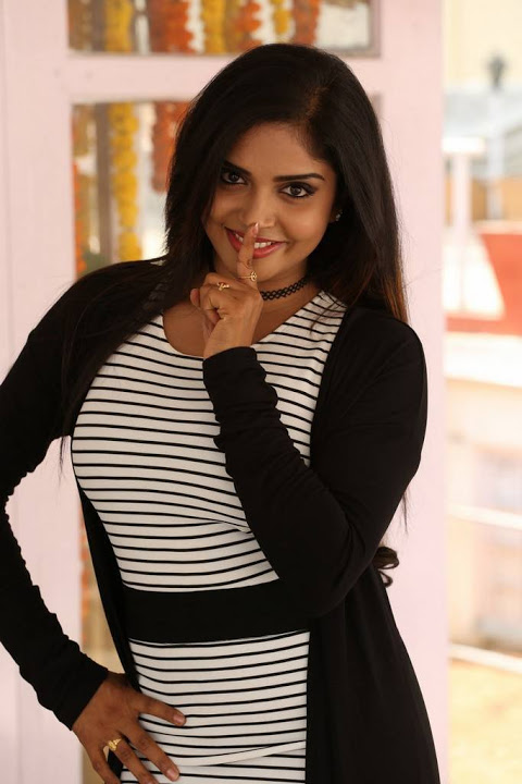 Karunya chowdary black and white dress cute pics
