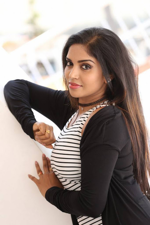 Karunya chowdary black and white dress exclusive pics