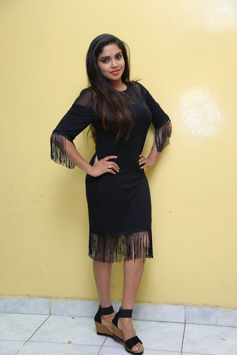 Karunya chowdary black dress photoshoot wallpaper