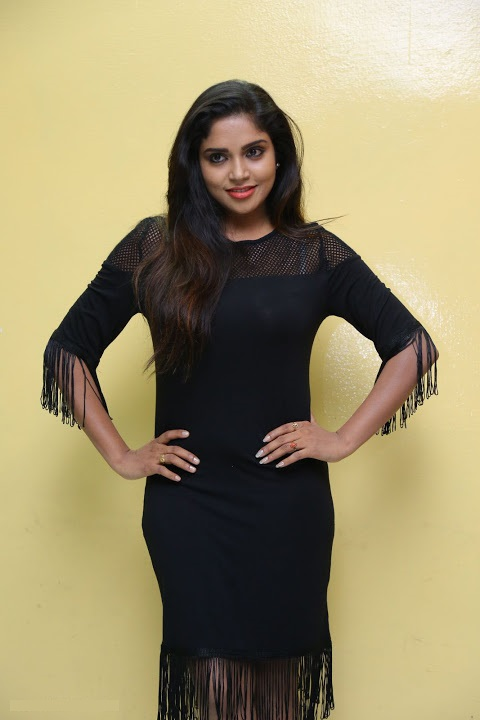 Karunya chowdary exclusive black dress pictures