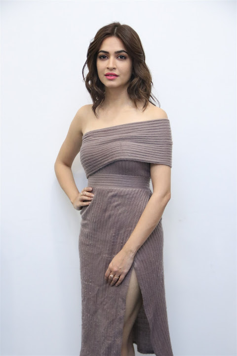 Kriti kharbanda gray color dress fashion image