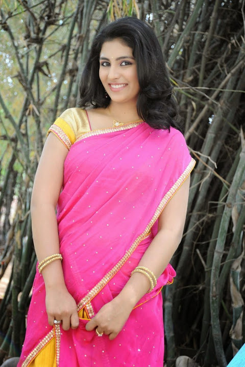 Kruthika jayakumar pink color half saree photos