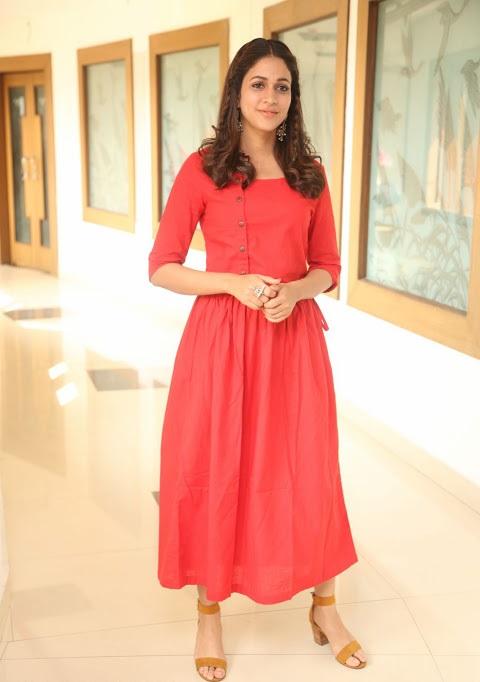Lavanya tripathi red dress smile pose stills