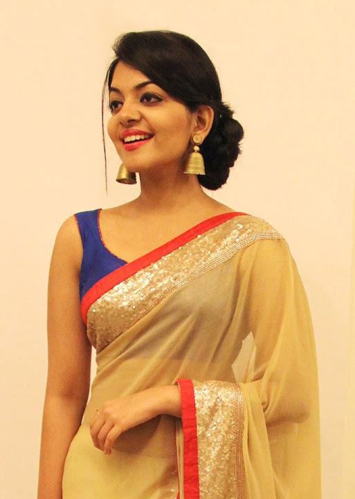 Ahaana krishna gold color saree image