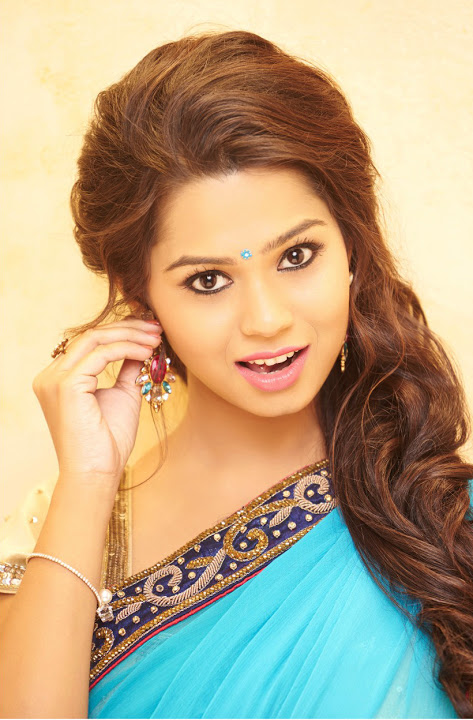 Aishwariya light blue color saree stills
