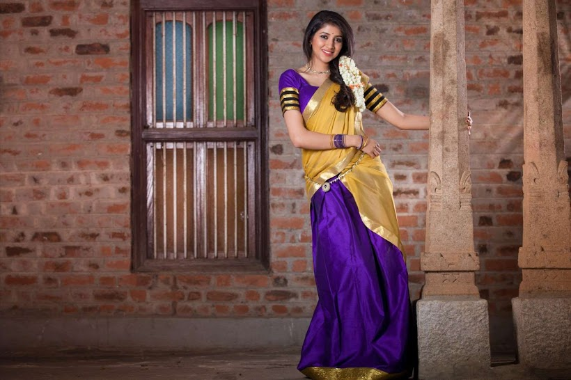 Akhila kishore blue and yellow color saree pictures