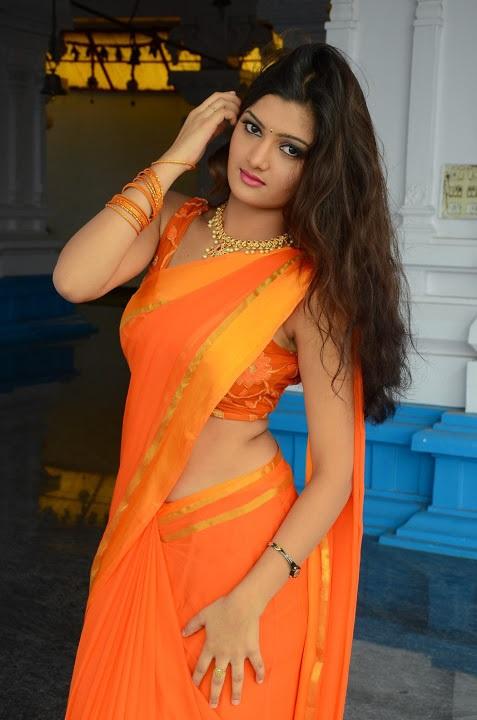 Akkshita orange color saree figure stills
