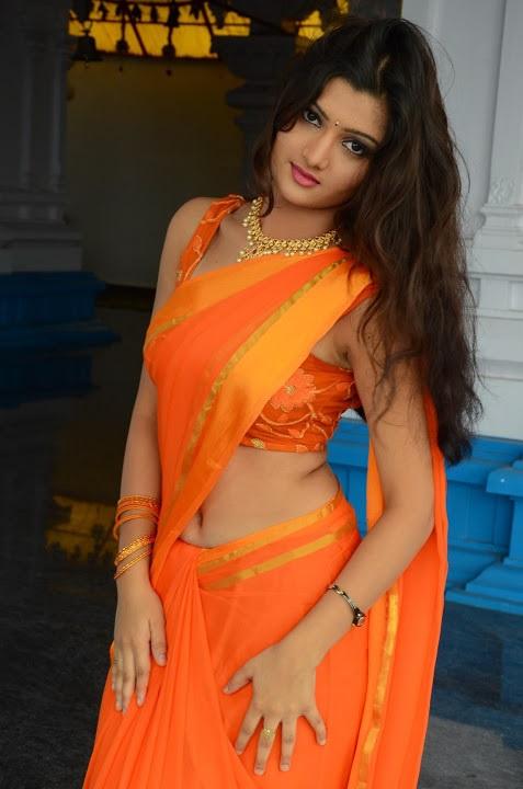 Akkshita orange color saree glamour fotos