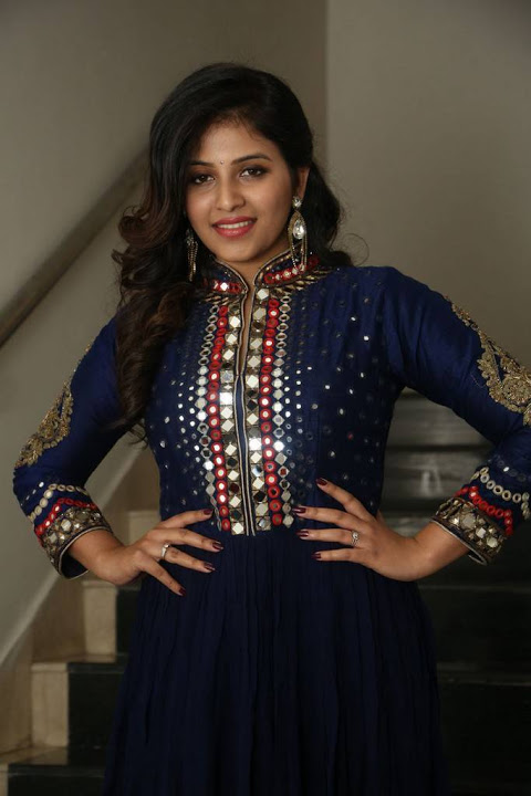 Anjali blue color dress beautiful pictures