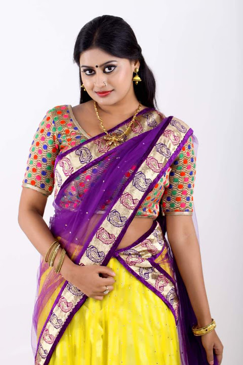 Ansiba hassan purple color half saree fotos