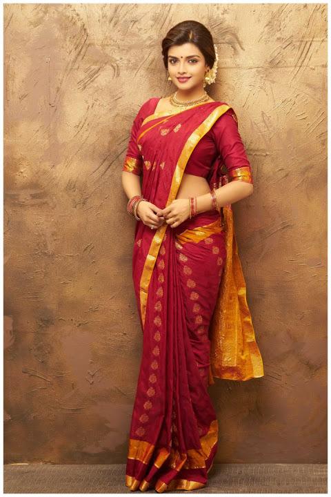 Ashna zaveri red saree stills