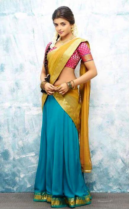 Ashna zaveri yellow color saree stills