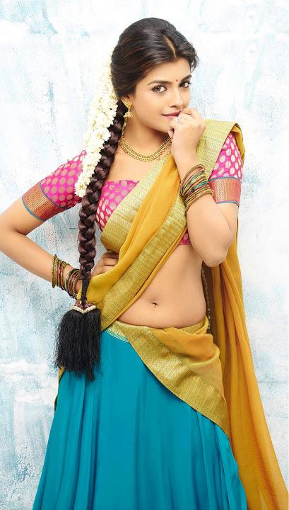Ashna zaveri yellow half saree pictures